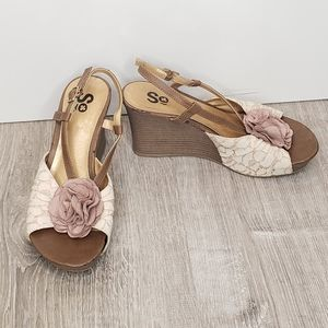 SO Brown Cream Floral Lace Wedge Heels Pink Suede Leather Flower  Open Toe 6.5
